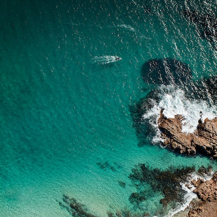The Salmon and the Fisherman_sRGB - Cape Naturaliste from the air. A Fisherman heads for bunching Salmon.