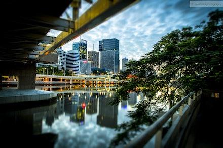 Brisbane City from underneath Kurilpa Bridge-