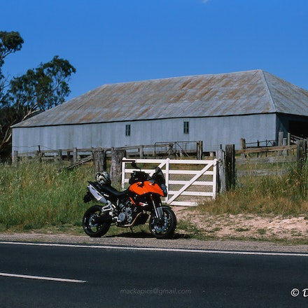 Shearing shed and motorcycle - Canon T90 and Fuji Provia 100 slide film