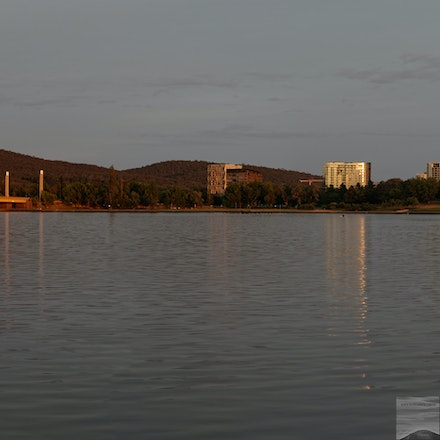 Midsummer dawn at Lake Burleigh Griffin - 2-shot panorama