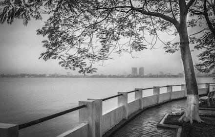 West Lake in the rain - The biggest lake in Hanoi by rain light