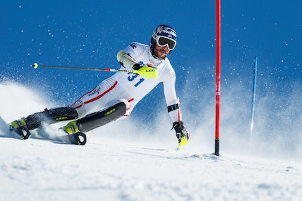 140813_FIS_SL1_3454 - Athlete competing in SSA FIS Slalom race on Hypertrail at Perisher, NSW (Australia) on August 13 2014. Jan Vokaty