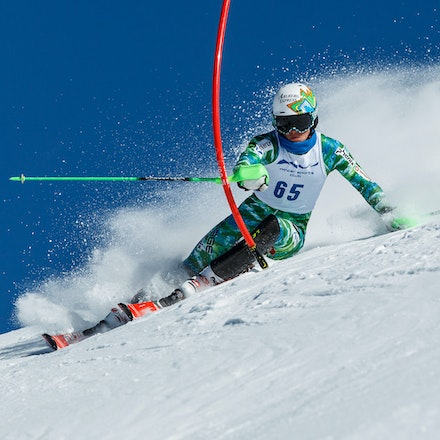 140813_FIS_SL1_3706 - Athlete competing in SSA FIS Slalom race on Hypertrail at Perisher, NSW (Australia) on August 13 2014. Jan Vokaty