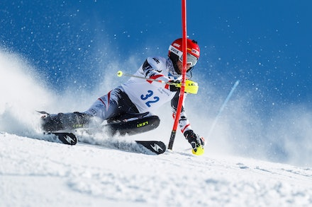 140813_FIS_SL1_3466 - Athlete competing in SSA FIS Slalom race on Hypertrail at Perisher, NSW (Australia) on August 13 2014. Jan Vokaty