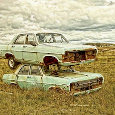 Automobiles in the Australian Landscape - Car graveyards, unusual black & white and colour photographs from Holdens to Falcons.