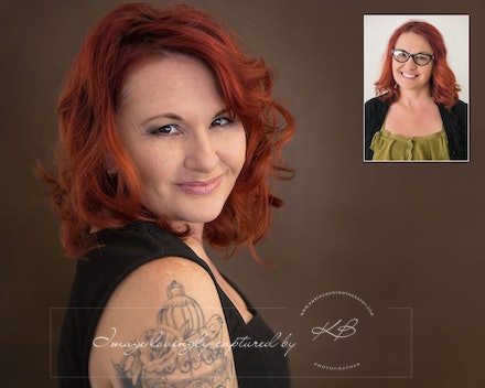 Before-and-after - Before and After from Beck's glamour portrait session in our Edens Landing, Logan City studio.