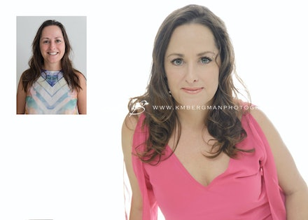 Before-and-after - Before and After from Pru's glamour portrait session in our Edens Landing, Logan City studio.
