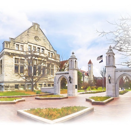 Sample Gates, Indiana University/Digital Watercolor_2436 - Photo by Campus Photos USA. The Sample Gates on the campus of Indiana University, Bloomington,...