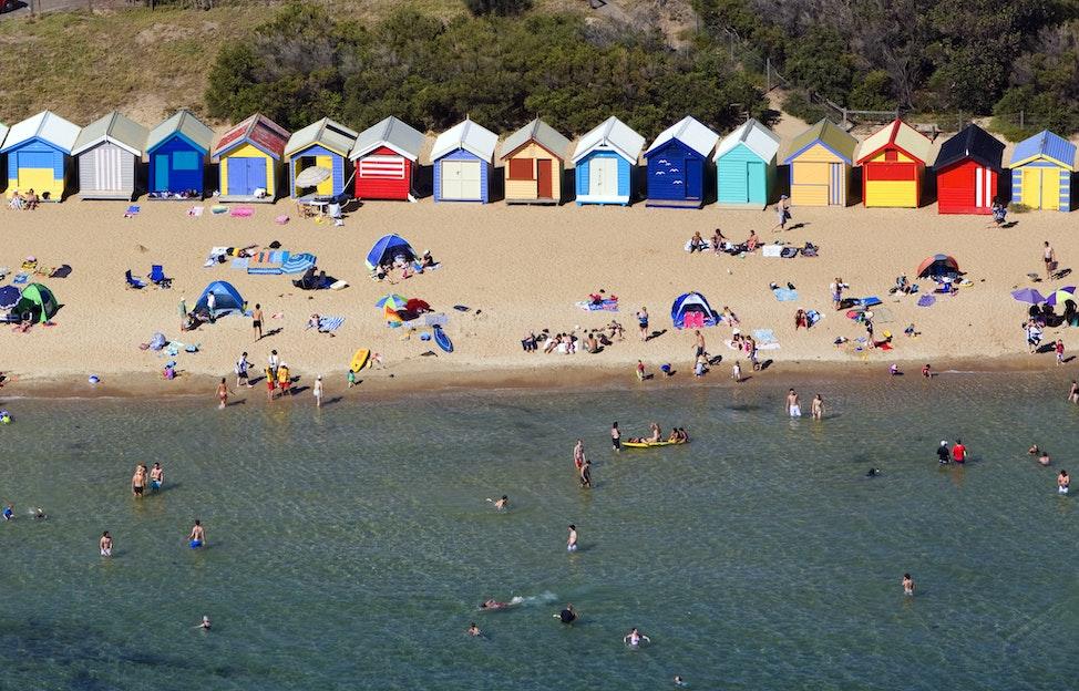 Brighton Beach Huts_41441 - Aerial view of Brighton Beach Huts, Melbourne, Victoria, Australia
