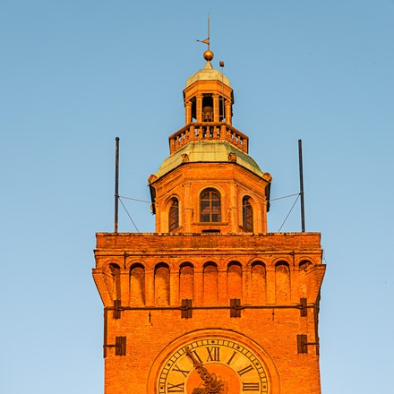 071 Bologna 201015-2182-Edit - The main clock over looking the Piazza Maggiore in Bologna, Italy