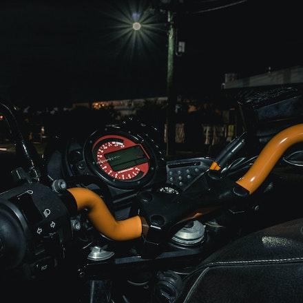 Control Room - Custom painted orange handlebars on the Z750